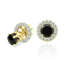3 Carat Black Diamond Solitaire Stud Pair Earrings Halo Jackets 14K Yellow Gold
