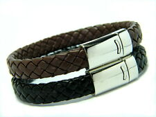 MENS WOMENS  BRAIDED LEATHER   BRACELET WRISTBAND SURFER TRIBAL BLACK BROWN