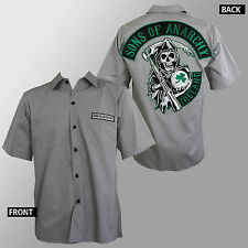 Authentic SONS OF ANARCHY Ireland Patch WorkShirt T-Shirt S M L XL XXL 3XL NEW