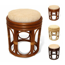 Pier Handmade Design Rattan Wicker Round Vanity Stool With Attached Cushion