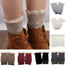 Hot Stylish Women Crochet Knitted Lace Trim Boot Toppers Cuffs Leg Warmers Socks