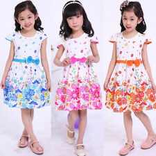 Kids Baby Girl Short Sleeve Flower Princess Party Dress One-piece Skirt 3-9Y