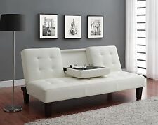 Dorel Convertible Futon Sofa Bed w Drink Holder couch sleeper cup leather NEW
