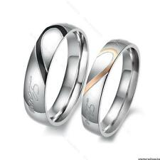 His and Her Love Heart Stainless Steel Couple Ring #S Wedding Bands Promise Ring