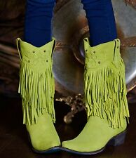 LB0065B Lane Western Womens Santa Rosa Fringe Boots Lime Green Leather Boots