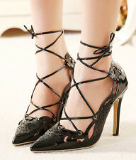 Sexy Womens Carving Patent Leather Stiletto High Heel Lace Up Strap Party Shoes