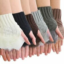 Winter Fingerless Gloves Women Mittens Faux Fur Ladies Knitted Knitting Texting