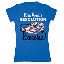 New Year's Resolution Exercise Running Shoes Sports Funny Athletic  Womens Tee