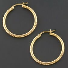 14K YELLOW, WHITE OR PINK GOLD 2X25MM POLISHED DIAMOND CUT ROUND HOOP EARRINGS