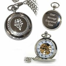 Personalised Scottish Thistle Mechanical Skeleton Pocket Watch Engraved Gift Him