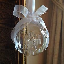 Personalised Glass Christmas Tree Bauble Angel inside Decoration Unusual Gift