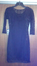 NWT EXPRESS $80 Crochet Sheath Black Dress Size XS In Stores Now!