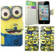 Lovely Minion PU Leather Wallet Book Case Cover For Apple iPod Touch 4 4th 5 5th