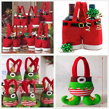 Lovely Santa Claus Elf Shoe Boot Suspenders Short Pant Candy Gift Bag Christmas
