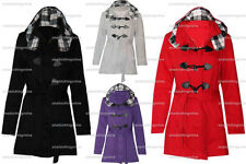 REDUCEDLADIES DUFFLE TOGGLE TRENCH POCKET CHECK HOODED COAT JACKET WINTER COATS