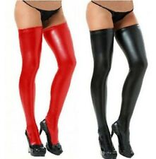 Sexy Womens Durable Stockings Spandex Thigh High Latex Socks Glam Rock Wetlook
