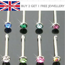 Surgical Steel Small Gem Crystal Nose Stud Ball End - Choose Colour - UK SELLER