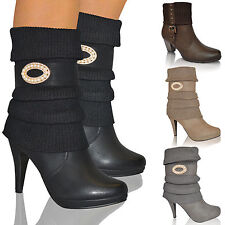 LADIES WOMENS MID HIGH SLIM HEEL WINTER SOCK BIKER KNEE CALF ANKLE BOOTS SIZE UK