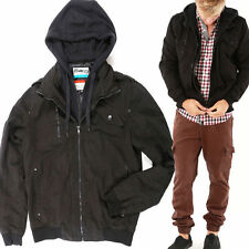 Mens BOMBER Thick Puffer Jacket LINED detachable Hoody Double layer Zip Hooded