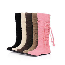 Women's Faux Suede Flat Heel Knee High Boots Shoes AU Size 3.5-10 S01
