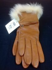 UGG AUSTRALIA QUINN GLOVES WITH TOSCANA TRIM CHESNUT COLOR TOUCHSCREEN FRIENDLY