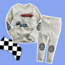 New Racing Driver Baby Boys Kids Cartoon Cars Sleepwear Pajamas 2pcs Set 1-7Y