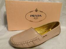 PRADA Patent Leather Driver Driving Flat Loafers Moccasins Shoes Nude Beige $590