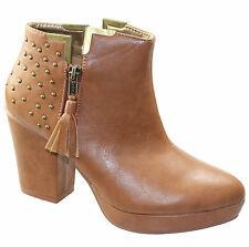 Ladies Brown Chelsea Ankle Boots with Studded Detail