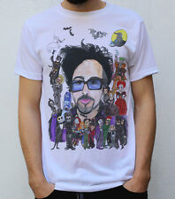 Tim Burton T shirt +his characters Beetlejuice Skellington Willy Wonka Red Queen