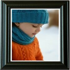Black Square Wooden Picture Photo Frames Stand or Wall Hang Moulding Frame