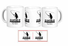 Id Rather Be Fishing Gift Mug Cup Novelty Personalised Hobby Sea Rod Xmas New