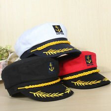 Yacht Peaked Skipper Sailors Navy Captain Boating Boat Hat Cap Costume Unisex