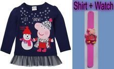 Peppa Pig Girls Clothing Long Sleeve Cotton Shirt Let Snow+Watch