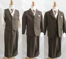 Boy dark brown /taupe toddler teen youth wedding tuxedo party formal dress suit