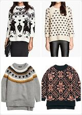 H&M Women's Jacquard-Knit Sweater.Four Kinds Of Patterned.Size S M L.NWT