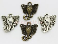 30pcs Antique Silver/Bronze elephant head Fit DIY Making Charm Pendant 16x14mm