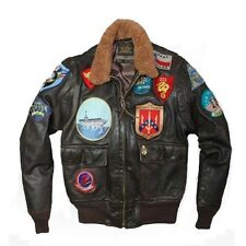 Top Gun fighter Aviator black leather jacket