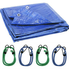 Weather Resistant Tarp and Bungee Cord Set Reinforced, Strong