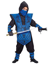 Child Boys Blue Complete Ninja Cosplay Halloween Costume Fancy Dress Up