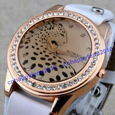NEW Fashion Leopard Face Diamond Genuine Leather  Band Women Quartz Watch WOMAGE