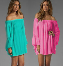 Women New Long Bell Sleeve Off Shoulder Loose Pleated Tops Shirt Beach Cover ups