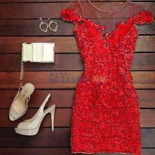 Sexy Lace Summer Short Sleeve Bodycon Slim Evening Party Cocktail Mini Dress #3Y