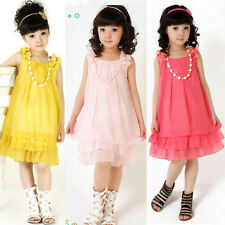 2015 Kids Girls Dress Princess Lace Bow Party Wedding Formal Gown Dress+Necklace