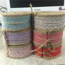 40mmX5yards Hessian Jute Ribbon With Lace Trim Rustic Wedding Crafts,6 Colors