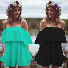 Womens Off Shoulder Exaggerated Ruffle Boho Shirt Casual Tops Swimwear Cover ups