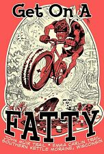 Fat Tire Mountain Bike Get On A Fatty 100% Polyester Hot Coral Graphic Tee