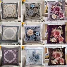 Flower Pillow Case Cotton linen Cushion Cover Decorative Square Home Throw Sofa