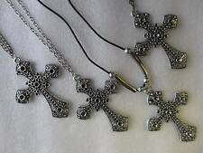 LARGE TIBETAN SILVER ORNATE CROSS PENDANT NECKLACE - CHOICE OF NECKLACE STYLE