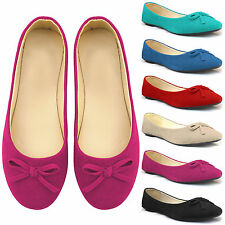NEW WOMENS FLAT BOW BALLERINA PUMPS LADIES BALLET DOLLY SUEDE LOOK SLIP ON SHOES