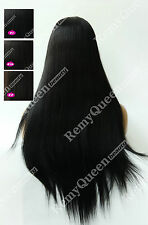 Premium Long Hair 24inch Silky Straight Brazilian Remy Full Lace Wig #1 #1b #2